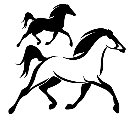 white: running horse black and white vector outline and silhouette Illustration