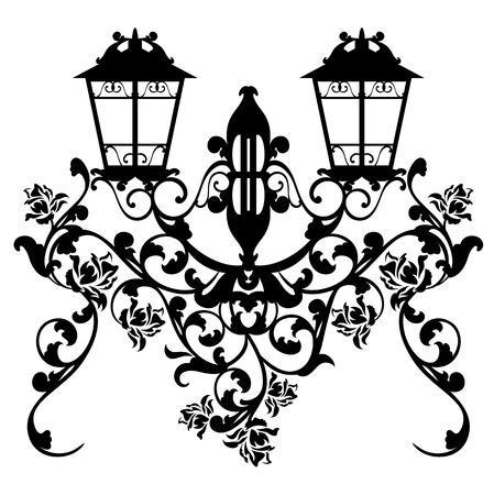 streetlamp: antique streetlamp among garden rose flowers - black and white vector design