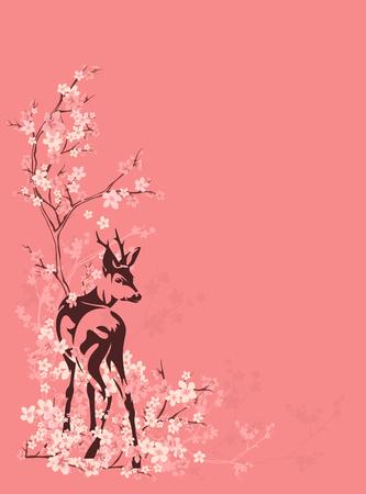 wild deer among blooming sakura tree branches - spring season vector copyspace background Vettoriali