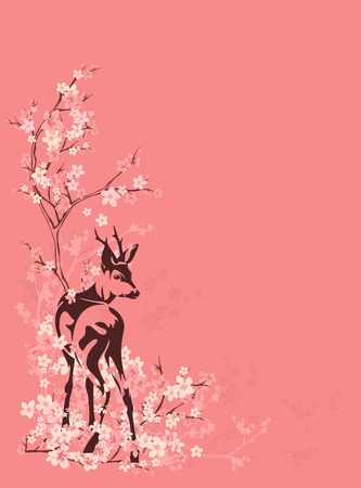 wild deer among blooming sakura tree branches - spring season vector copyspace background