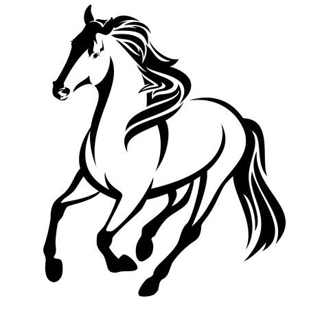 running horse vector contorno blanco y negro Ilustración de vector