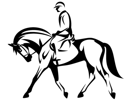horse rider side view black and white vector design
