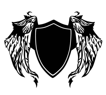black wings: black and white heraldic shield with wings - monochrome vector design Illustration