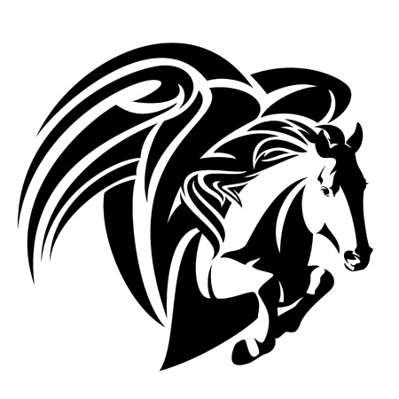 winged horse design - pegasus black and white vector illustration