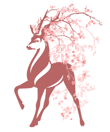 deer among pink flower branches - spring season blossom vector design Illustration