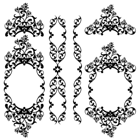 ornaments floral: floral black and white vintage style decorative design vector set