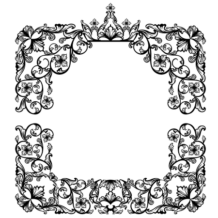 artwork: luxurious vintage frame with royal crown among floral motif - black and white vector design