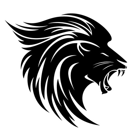 Lion head side view tribal design - black and white vector animal