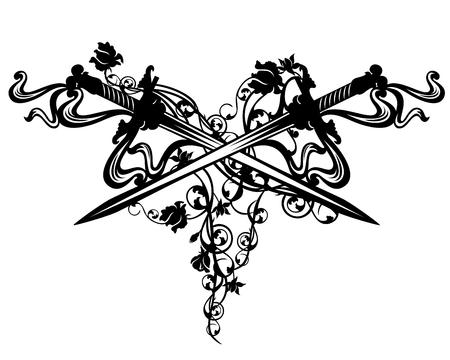 Crossed swords among rose flowers - vintage style vector design element Illustration