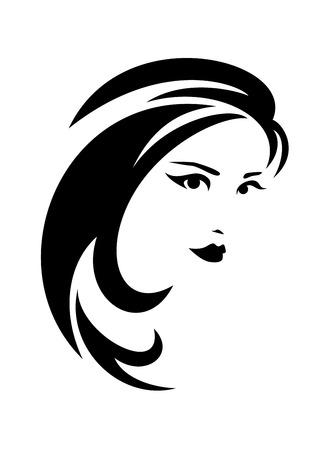 mooie brunette vrouw met lang haar zwart-wit vector design