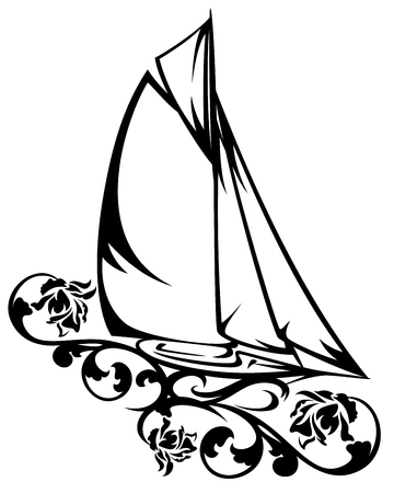 sea transport: yacht sailing among rose flowers black and white vector design Illustration