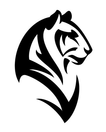 Tête de profil de tigre - portrait de vecteur animal noir et blanc Banque d'images - 75200555