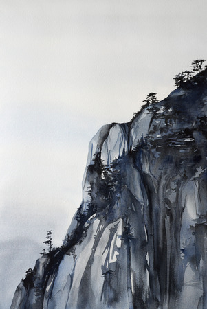 Mountain cliff with pine trees - watercolor painting natural landscape with detailed paper texture