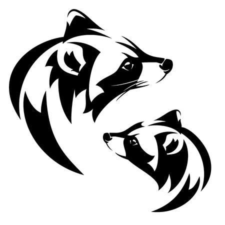 Testa di profilo del procione (lotor del Procyon) - progettazione in bianco e nero di vettore