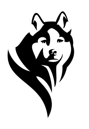 siberian: husky dog head black and white vector design Illustration