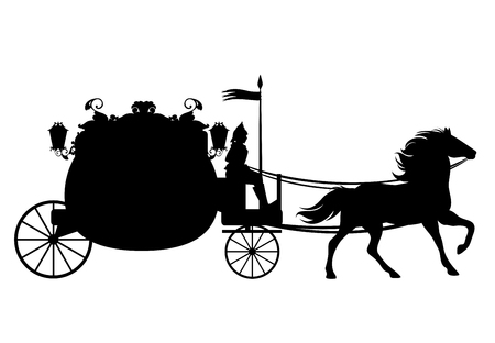antique carriage with coachman drawn by horse - black vector silhouette Illustration