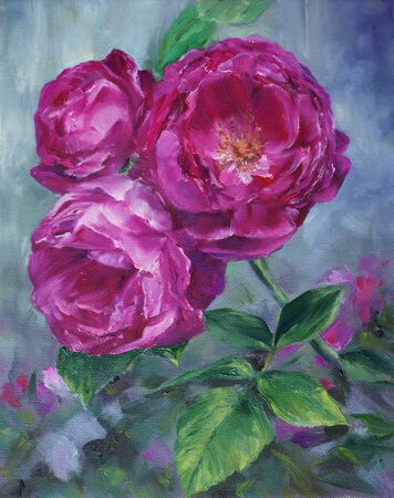 vermilion: pink roses in the garden - oil painted on canvas