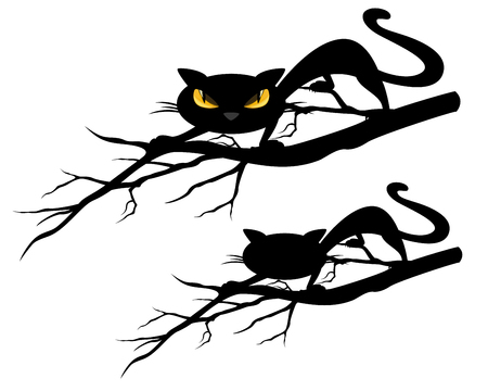 halloween theme evil black cat on a tree branch - vector design set Illustration