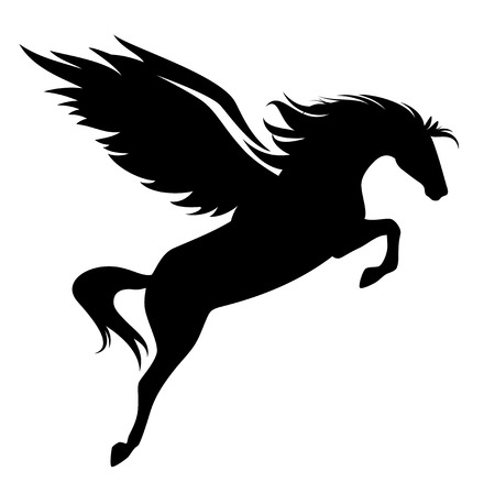 jumping pegasus - winged horse black vector design Illustration