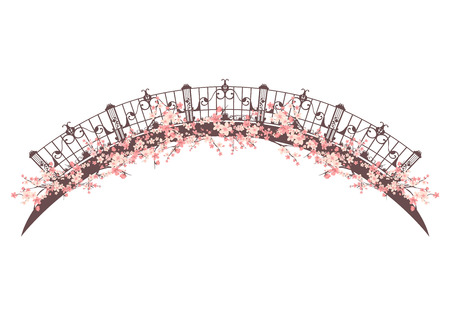 Brückenspanne unter rosa Blütenblüte - Frühlings-Saison-Vektordesign Vektorgrafik