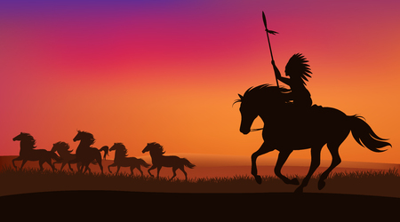 wild west scene with north american indian chasing herd of mustang horses - vector sunset landscape Illustration