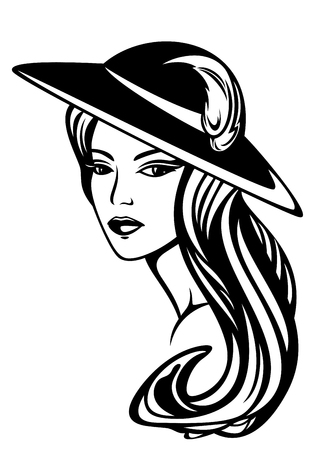 fashion: Elegant woman with long hair wearing hat - black and white vector design