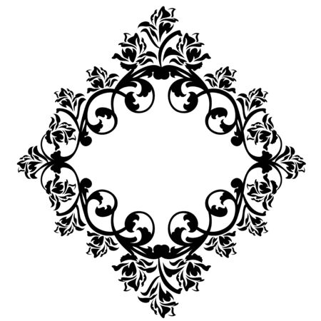 rose flowers frame ornament - black and white floral vector design