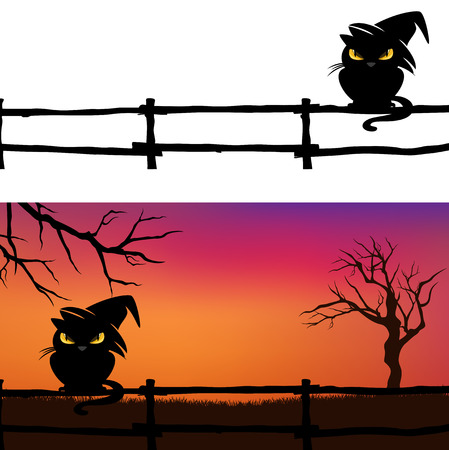 Halloween vector background with black cat, fence and bare twisted tree branches silhouette