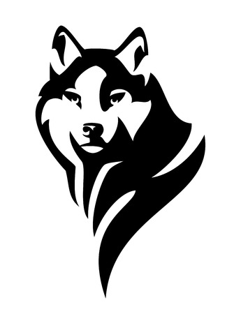 wolf (canis lupus) head en face black and white vector design