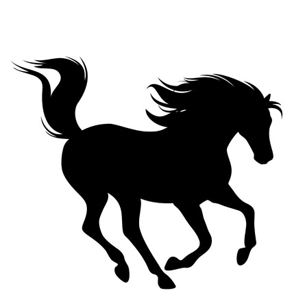 running horse fine black vector silhouette on white