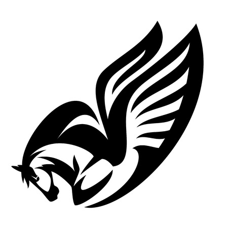 Winged horse black and white illustration - pegasus profile head vector design