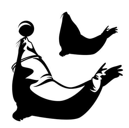 eared: Sea lion performing with ball outline and silhouette - black and white aquarium logo vector design