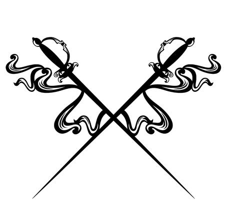 Épées epee croisées et rubans décoratifs - design vectoriel noir et blanc