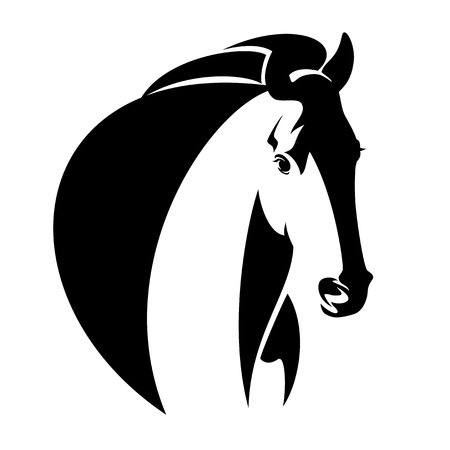 horse head simple black and white vector design