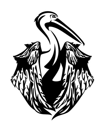 pelican bird with folded wings - black and white vector design Illustration