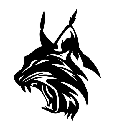 angry lynx head - black and white vector design