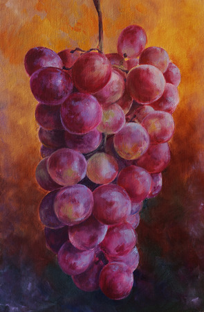ripe pink grapes racemation - oil painted still life with canvas texture 版權商用圖片
