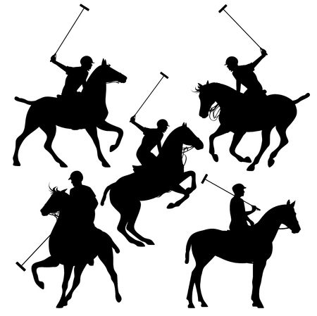 polo horsemen silhouette set - black vector riders design collection