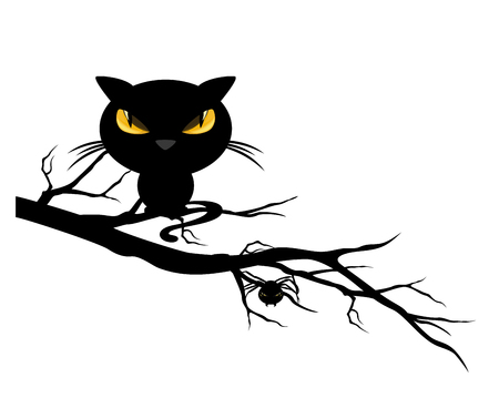 halloween theme spooky black cat and spider on a tree branch - monster vector design Illustration