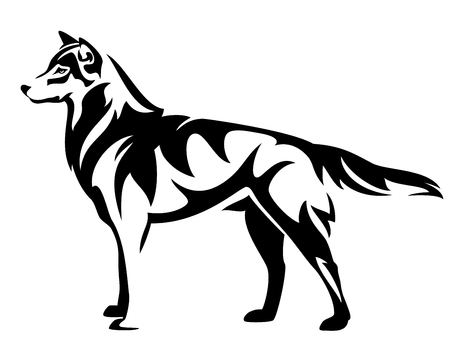 standing wolf side view - black and white vector design Ilustração