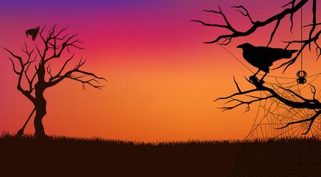 Halloween evening silhouette illustration