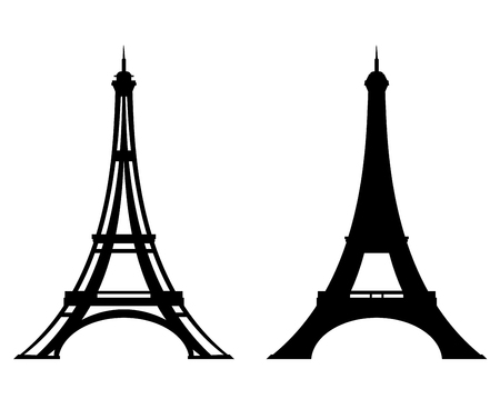 eiffel tower stylized outline and silhouette - Paris and France black vector design set