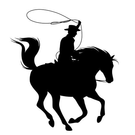 Cowboy throwing lasso riding running horse.