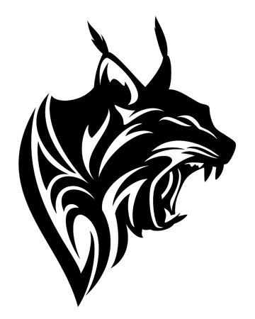 roaring lynx profile head black and white vector tribal design Vector Illustration