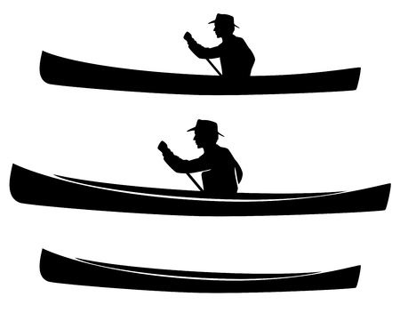 man in canoe boat black vector silhouette and outline design set