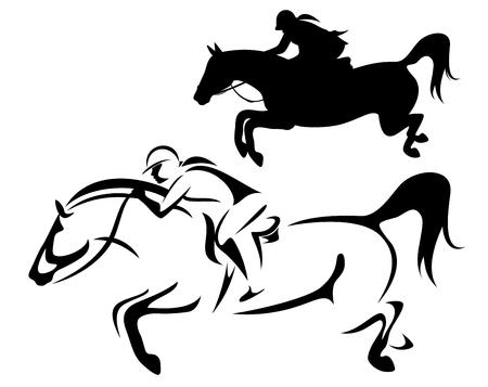 vrouwelijke ruiter - jumping paard zijaanzicht overzicht en silhouet zwart-wit vector design Vector Illustratie