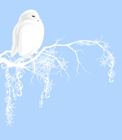White owl  on branch covered with snow - xmas vector design