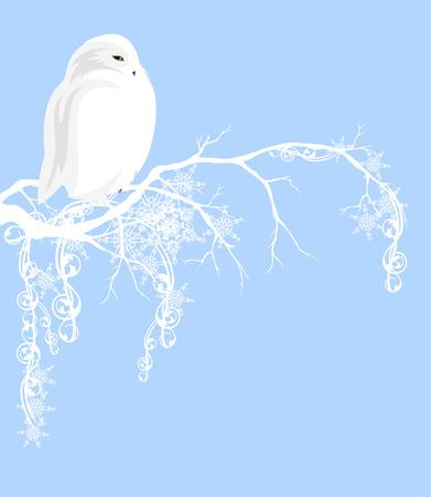 Witte uil op tak die met sneeuw wordt behandeld - Kerstmis vectorontwerp