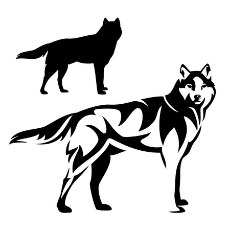 standing wolf black and white vector outline and silhouette design 向量圖像
