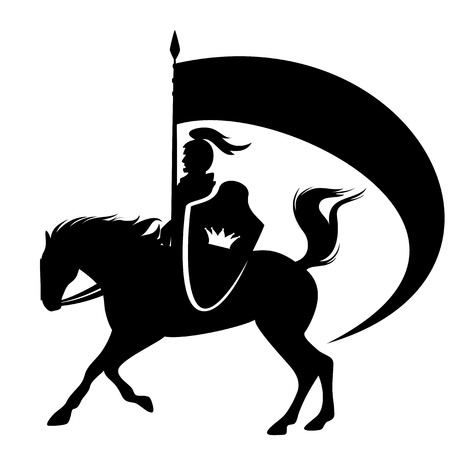 Royal knight with a crown shield riding a horse - black side view vector silhouette